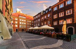 Vintage streets in the old town of Warsaw. Royalty Free Stock Images