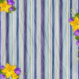 Vintage striped background with flowers Stock Photography