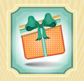 Vintage, striped card with orange gift with Royalty Free Stock Photos