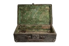 Vintage striped open suitcase royalty free stock photos