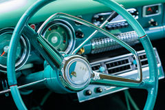 Vintage Studebaker Automobile. Miami, FL USA - March 12, 2017: Close up view of the interior of a beautifully restored vintage 1955 Studebaker Commander Royalty Free Stock Photography
