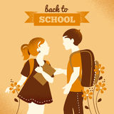 Vintage students background. School boy and girl Royalty Free Stock Photo