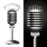Vintage studio mic. Realistic illustration of a retro studio microphone with a matching label for your text, e.g. news or blog Royalty Free Stock Photography