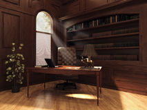 Vintage study with bookshelves Royalty Free Stock Photography
