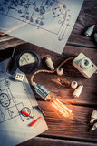 Vintage study of electric current Royalty Free Stock Photos