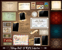 Vintage Stuff Extreme Collection. 3 seamless wallpaper, a parchment, photoframes, adhesive straps, vintage labels, postcards, Ribbon, postage stamps and so on Stock Images