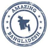 Vintage stupéfiant le timbre de voyage du Bangladesh avec la carte Images libres de droits