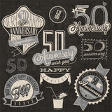 Vintage style 50 anniversary collection. Royalty Free Stock Image