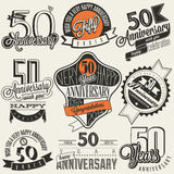 Vintage style 50 anniversary collection. Fifty anniversary design in retro style. Vintage labels for anniversary greeting. Hand lettering style typographic and Royalty Free Stock Photo