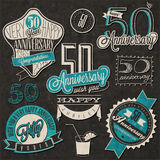Vintage style 50 anniversary collection. Fifty anniversary design in retro style. Vintage labels for anniversary greeting. Hand lettering style typographic and Royalty Free Stock Images
