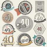 Vintage style 40 anniversary collection. Royalty Free Stock Photos