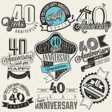 Vintage style 40 anniversary collection. Royalty Free Stock Photo