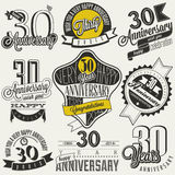 Vintage style 30 anniversary collection. Thirty anniversary design in retro style. Vintage labels for anniversary greeting. Hand lettering style typographic and Stock Images