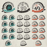 Vintage style anniversary sign collection. Anniversary cards design in retro style Stock Photo