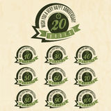 Vintage style anniversary sign collection. Anniversary cards design in retro style Royalty Free Stock Photos