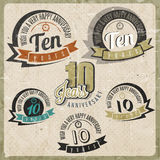 Vintage style 10 anniversary sign collection. Ten anniversary card design in retro style Stock Images