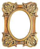 Vintage style antique golden frame isolated on white Stock Images