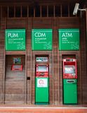 Vintage style ATM automatic teller machine made of wood Thai commercial banks In the gas station For cash services,Thailand, Lo royalty free stock photos