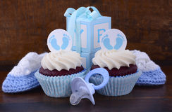Vintage Style Baby Shower Cupcake and Gift Box Stock Images