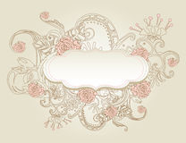 Vintage style background with flowers Stock Images