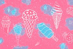 Vintage style background, party items: cocktails and ice cream vector illustration