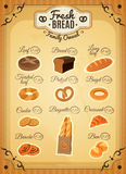 Vintage Style Bakery Price List Poster Stock Photo