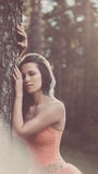Vintage style Beauty Romantic Girl Outdoors Royalty Free Stock Photography