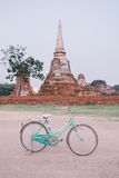 Vintage style bicycle in background of the old town, Ayutthya Royalty Free Stock Images