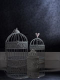 Vintage style birdcages in a dark interior Royalty Free Stock Image