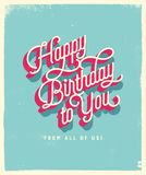 Vintage Style Birthday Card - Happy Birthday to You From All of Us. Vector EPS10. For your print and web messages : greeting cards, banners, posters Stock Photo
