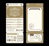Vintage style Boarding Pass Ticket Wedding Invitation Template V. Ector vector illustration