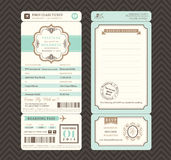 Vintage style Boarding Pass Ticket Wedding Invitation Template royalty free illustration
