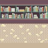 Vintage Style BookShelf On Brick Wall Royalty Free Stock Photo