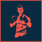 Vintage style boxer vector Royalty Free Stock Image