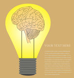 Vintage style of Brain in light bulb idea Stock Photo