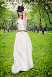 Vintage style bride outdoors Royalty Free Stock Image