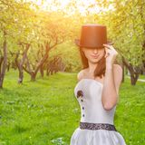 Vintage style bride outdoors Royalty Free Stock Photography
