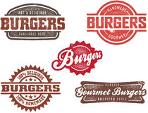 Vintage Style Burger Stamps Stock Photos