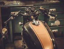 Vintage style cafe-racer motorcycle royalty free stock images