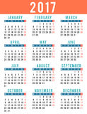 Vintage style calendar design for year 2017 Stock Photo