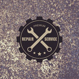 Vintage style car repair service label on rusty background. Vect Royalty Free Stock Photos
