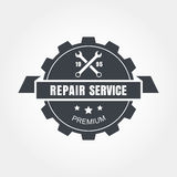 Vintage style car repair service label. Vector logo design templ Stock Image