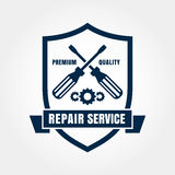 Vintage style car repair service shield label. Vector logo desig Royalty Free Stock Image
