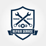 Vintage style car repair service shield label. Vector logo desig Stock Photography