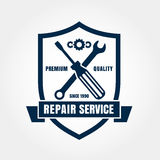 Vintage style car repair service shield label. Vector logo desig Stock Images