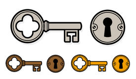 Vintage style cartoon key with lock Stock Images