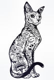 Vintage style cat with body flash art tattoos. Stock Photography