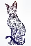 Vintage style cat with body flash art tattoos. Royalty Free Stock Image