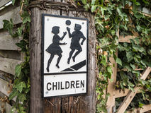 Vintage style children playing sign Royalty Free Stock Images