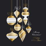Vintage style Christmas baubles set. In white, gold and black colors. Flat simple xmas design for header, card, invitation, poster, cover and other web and vector illustration